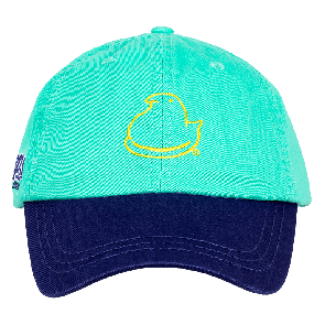 Peeps youth baseball hat front view green panels with blue bill and yellow peep chick on front