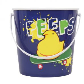 Purple chick pail with yellow peep on skateboard graphic