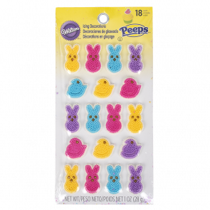Peeps 18 count icing decoration with different colored chicks and bunnies