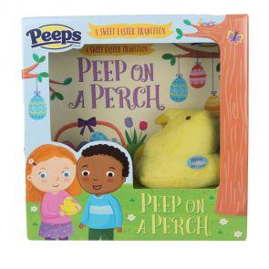 Peeps on a Perch gift set with plush yellow peep