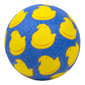 """Peeps 8.5"""" playground ball blue rubber with yellow chick pattern"""