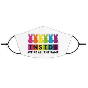 """White face mask with """"Inside we're all the same"""" graphic on front"""