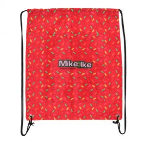 Mike and Ike red drawstring bag rear view with Mike and Ike logo graphic on back pocket