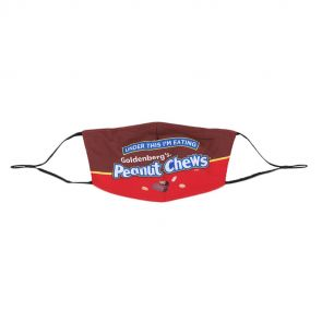 """Goldenberg's peanut chews face mask with """"Under this I'm eating Peanut Chews"""" graphic on front"""