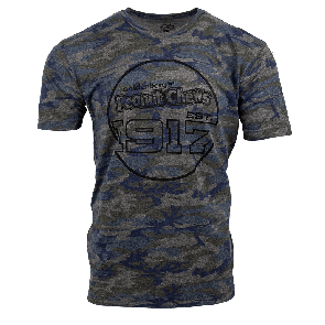 Goldenberg's Camo Tee with Peanut Chews Established in 1917 circle graphic on chest