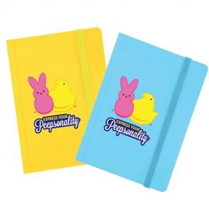 """Peeps blue or yellow journal front view with """"express your peepsonality"""" logo on front with pink bunny and yellow chick"""
