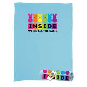 """Peeps blue sweatshirt throw blanket with """"Inside we're all the same"""" graphic"""