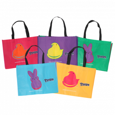 Peeps Reusable tote bags black straps with peep chicks on the front