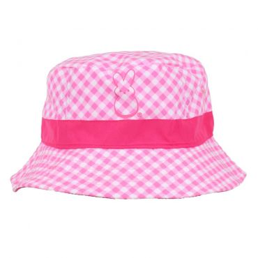 Pink bunny youth bucket hat with pink stripes and pink peep chick