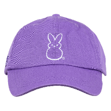 peeps youth hat front view purple panels with white peep chick