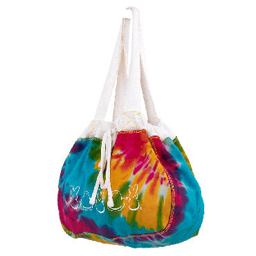 Inside we're all the same reusable tote with tie dye pattern with chick and bunny pattern on sides