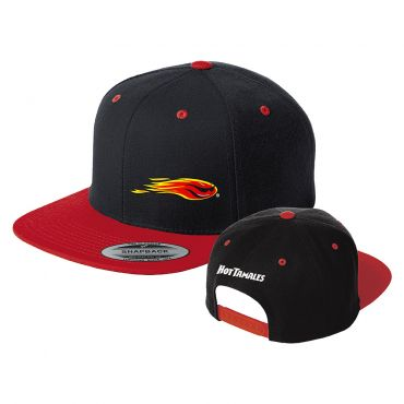 Red flat bill hat with black panels and red bill. Hot Tamales fireball on front left panel with Hot Tamales logo on back rear