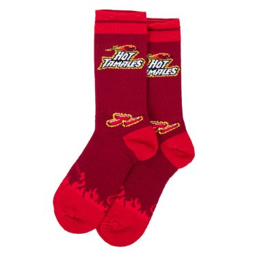 Hot Tamales socks side view with Hot Tamales logo and fireball on the top