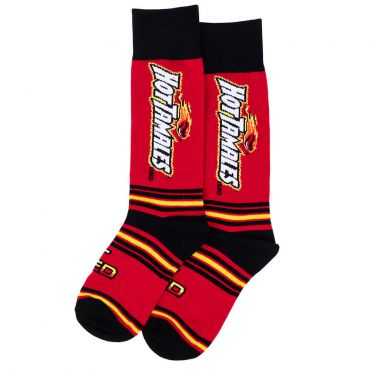 Hot Tamales socks with red and black stripe pattern and Hot Tamales logo on the side