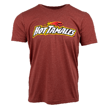 Heather clay red shirt with Hot Tamales fireball logo on front chest