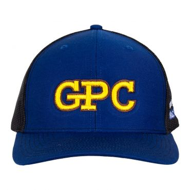 """Goldenberg's Peanut Chews Mesh cap front view with blue front panels and black mesh rear. GPC graphic on front panel and """"Goldenberg's peanut chews"""" logo on left panel"""