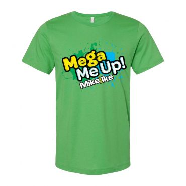"""Green adult tee front view with """"Mega Me up!"""" graphic on chest"""