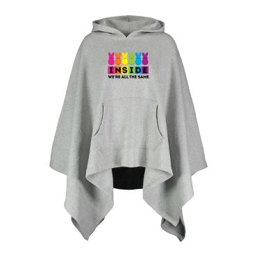 """Grey throw poncho with hood and """"Inside we're all the same"""" graphic on chest"""
