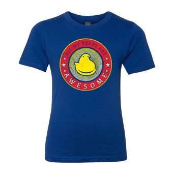 """Blue unisex tee front view with """"All my Peeps are Awesome"""" vintage circle graphic and yellow chick in the center"""