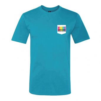 """Blue adult tee front view with """"Inside we're all the same"""" graphic on chest pocket"""