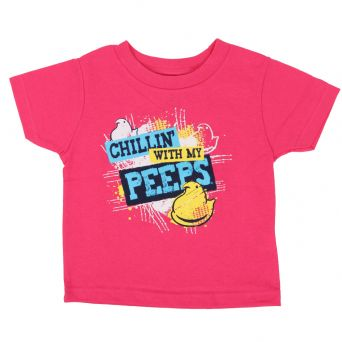 Chillin with My Peeps Toddler Tee front view pink shirt with peeps graphic on chest