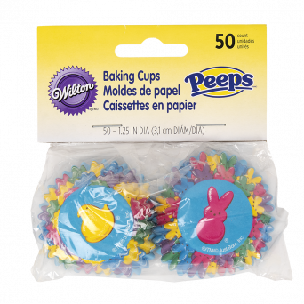 Peeps baking cups 50 count with different colored peep graphics