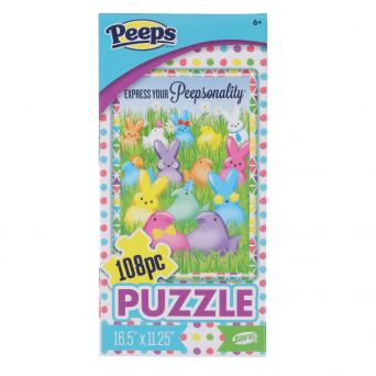 Peeps express your peepsonality 108 piece puzzle with colored bunnies and chicks