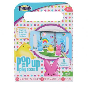 Peeps pop up play scene 3D front view with rainbow, chicks, and bunnies