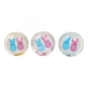 Peeps light up glitter balls clear fill with blue and purple bunnies