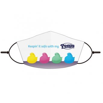 """Peeps front view white mask with """"keepin' it safe with my Peeps"""" graphic and four different colored peep chicks"""