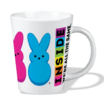 """White coffee mug with """"Inside we're all the same"""" graphic on the side with purple and blue bunnies"""