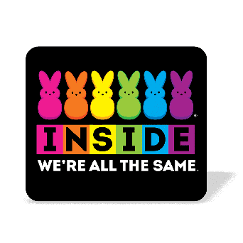 Inside we're all the same rainbow color graphic on black mouse pad