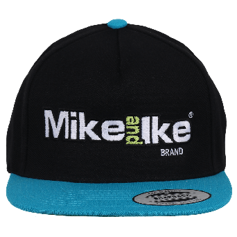 Mike and Ike black panel hat with blue bill and Mike and Ike logo graphic on front panels