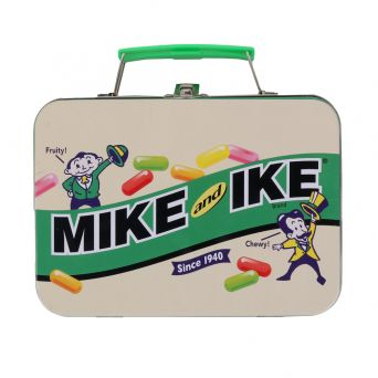 Mike and Ike vintage graphic side view lunch tin with 1940s original logo