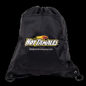 Black drawstring bag with Hot Tamales Fireball logo print on back