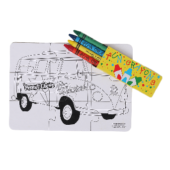 Goldenberg's Peanut Chews Color puzzle with four colored pencils