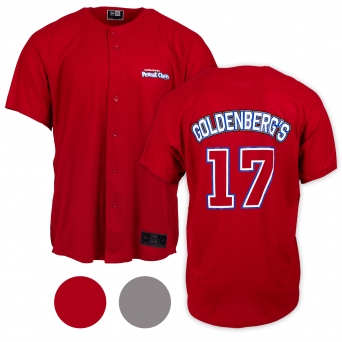 Red front and back view Goldenberg's Stadium Jersey with jersey number on back
